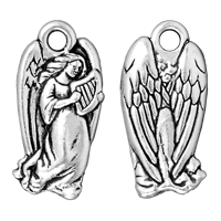 TierraCast Angel Charm 22x11mm Pewter Antique Silver Plated (1-Pc)