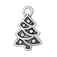 TierraCast Charm - Christmas Tree 20x12mm Pewter Antique Silver Plated (1-Pc)