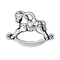 TierraCast Charm - Rocking Horse 17x22mm Pewter Antique Silver Plated (1-Pc)