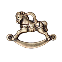 TierraCast Charm - Rocking Horse 17x22mm Pewter Antique Brass Plated (1-Pc)