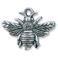 Bumblebee Charm 18x23mm Pewter Antique Silver Plated (1-Pc)
