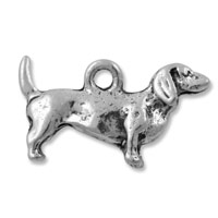 Dachshund Charm 20mm Pewter Antique Silver Plated (1-Pc)