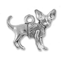 Chihuahua Charm 19mm Pewter Antique Silver Plated (1-Pc)