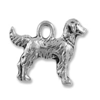 17x15mm Antique Silver Plated Double Sided Retriever Pewter Charm (1-Pc)