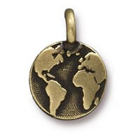 TierraCast Earth Charm 12x17mm Pewter Oxidized Brass Plated (1-Pc)