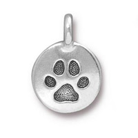 TierraCast Paw Print Charm with Loop 11.6mm Antique Silver Plated (1-Pc)