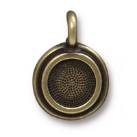 TierraCast Stepped Bezel Charm 11.6mm Brass Oxide (1-Pc)