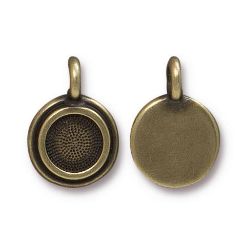 Stepped bezel charm brass oxide wholesale jewelry for Best jewelry making supplies
