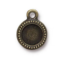 TierraCast Beaded Bezel Drop 10.4mm Antique Brass Plated (1-Pc)