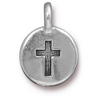 TierraCast Cross Charm 11mm Pewter Antique Silver Plated  (1-Pc)