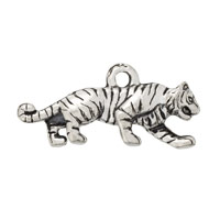 Tiger Charm 9x23mm Pewter Antique Silver Plated (1-Pc)