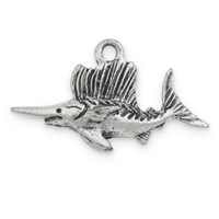Swordfish Charm 27x14mm Pewter Antique Silver Plated (1-Pc)