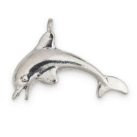 Dolphin Charm 32x22mm Pewter Antique Silver Plated (1-Pc)
