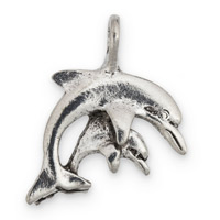 Dolphin & Calf Charm 20x25mm Pewter Antique Silver Plated (1-Pc)