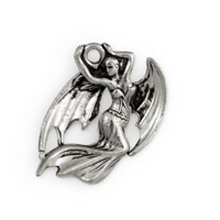 Dragon Woman Charm Pewter 21mm Antique Silver Plated (1-Pc)