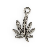 13mm Antique Silver Plated Marijuana Leaf Pewter Charm (1-Pc)