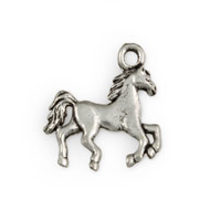 19mm Antique Silver Plated Galloping Horse Pewter Charm (1-Pc)
