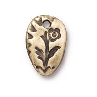 TierraCast Flora Charm14mm Pewter Brass Oxide  (1-Pc)