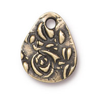 TierraCast Flora Charm Teardrop 15mm Pewter Brass Oxide (1-Pc)