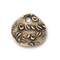 TierraCast Jardin Charm 15mm Pewter Brass Oxide (1-Pc)