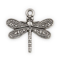 21x19mm Antique Silver Plated Pewter Dragonfly Charm (1-Pc)