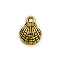 Scallop Shell Charm 10mm Pewter Antique Gold Plated (1-Pc)