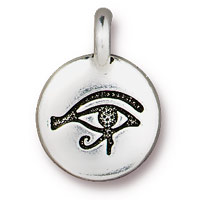TierraCast 12mm Antique Silver Plated Pewter Eye of Horus Charm (1-Pc)