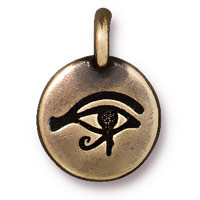 TierraCast 12mm Brass Oxide Pewter Eye of Horus Charm (1-Pc)