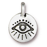TierraCast Evil Eye Charm 12mm Pewter Antique Silver Plated (1-Pc)