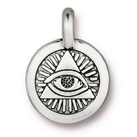 TierraCast 12mm Antique Silver Plated Pewter Eye of Providence Charm (1-Pc)