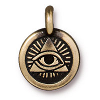 TierraCast 12mm Brass Oxide Pewter Eye of Providence Charm (1-Pc)