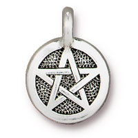 TierraCast 12mm Antique Silver Plated Pewter Pentagram Charm (1-Pc)