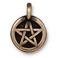 TierraCast 12mm Brass Oxide Pewter Pentagram Charm (1-Pc)