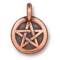 TierraCast 12mm Antique Copper Plated Pewter Pentagram Charm (1-Pc)