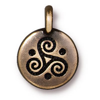 TierraCast Triple Spiral Charm 12mm Pewter Brass Oxide Plated (1-Pc)