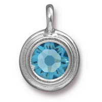 TierraCast 11mm Aquamarine Rhodium Plated Pewter Bezel Drop (1-Pc)