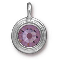 TierraCast 11mm Light Amethyst Rhodium Plated Pewter Bezel Drop (1-Pc)