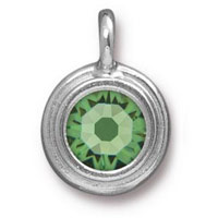TierraCast 11mm Peridot Rhodium Plated Pewter Bezel Drop (1-Pc)