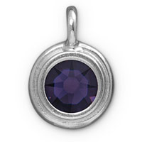 TierraCast 11mm Purple Velvet Rhodium Plated Pewter Bezel Drop (1-Pc)