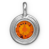 TierraCast 11mm Tangerine Rhodium Plated Pewter Bezel Drop (1-Pc)