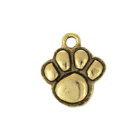 Paw Print Charm 12x13mm Pewter Antique Gold Plated (1-Pc)