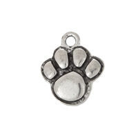 Paw Print Charm 12x13mm Pewter Antique Silver Plated (1-Pc)