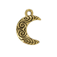 Crescent Moon Charm 15x12mm Pewter Antique Gold Plated (1-Pc)