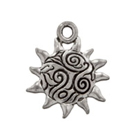 Sun with Swirls Charm 15x16mm Pewter Antique Silver Plated (1-Pc)