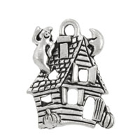 Haunted House Charm 19x15mm Pewter Antique Silver Plated (1-Pc)