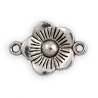 Flower Connector Pewter Antique Silver Plated 15mm (1-Pc)
