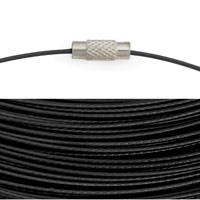 Cable Necklace with Twist Clasp 17½ Inches Black (1-Pc)