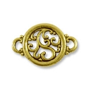 Round Filigree Connector 19x13mm Pewter Antique Gold Plated (1-Pc)