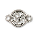 Round Filigree Connector 19x13mm Pewter Antique Silver Plated (1-Pc)