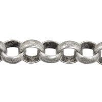 Rolo Chain 7mm Antique Silver Plated (Priced per Foot)